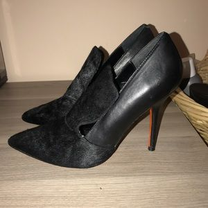 Black leather ponyhair heels